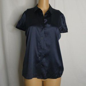 Theory Susana Button Up Silk Blend Blouse Navy SM
